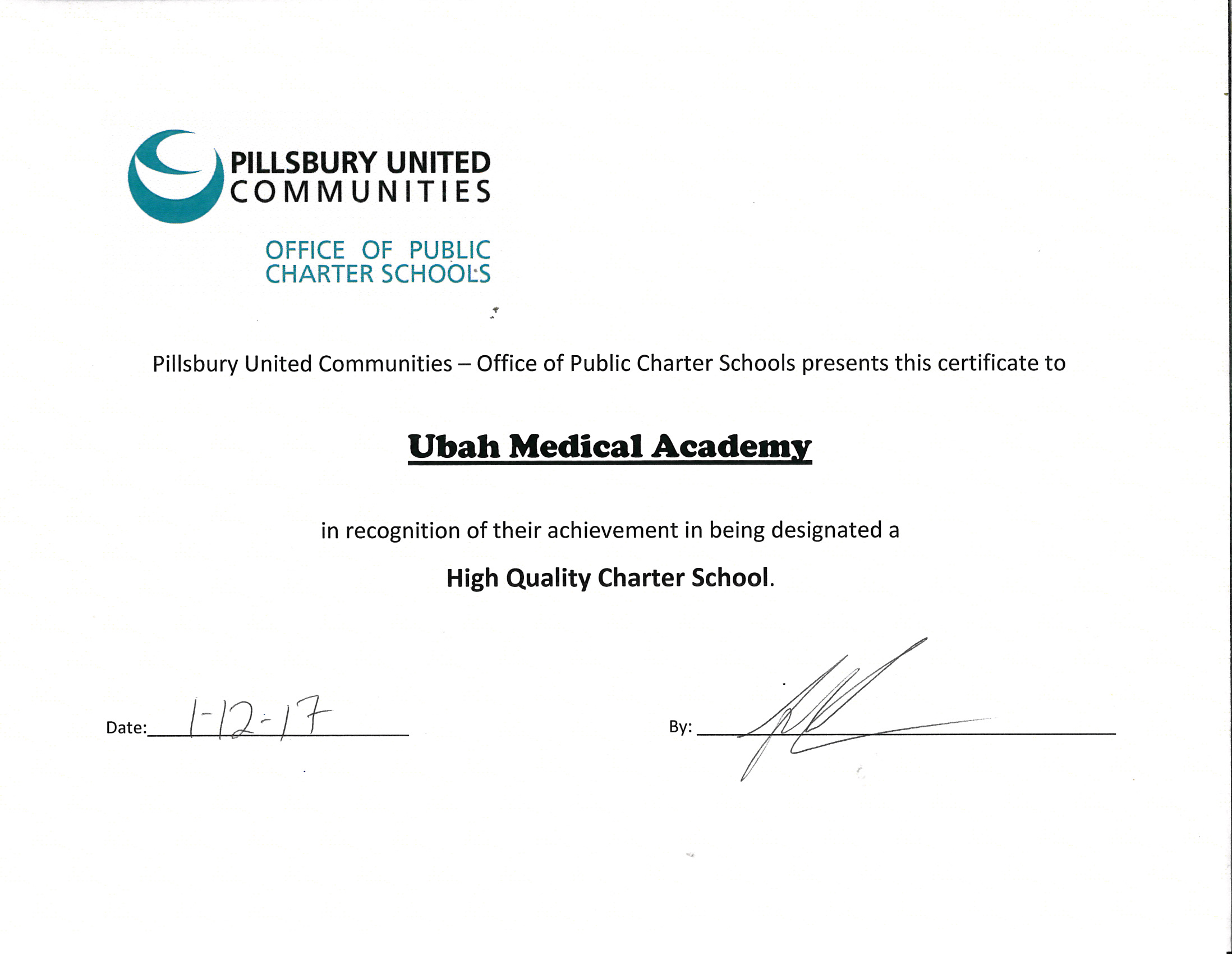 2017 High Quality Charter School Certificate