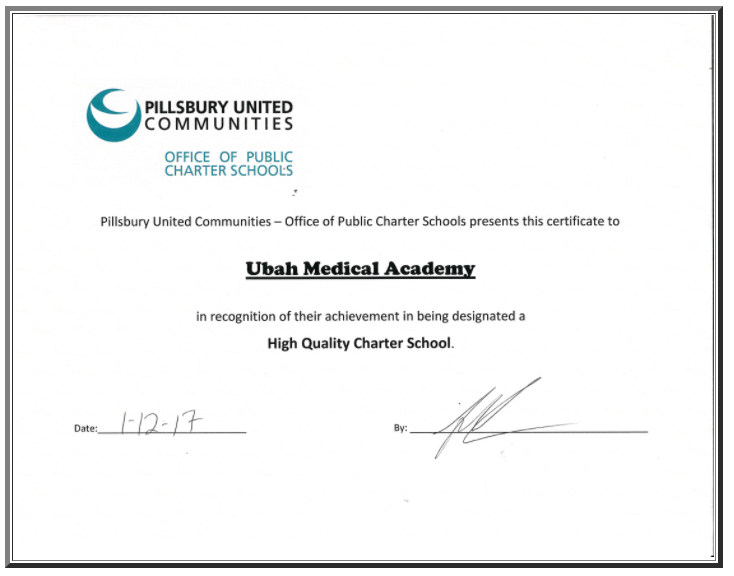High Quality Charter School Certificate from Pillsbury United